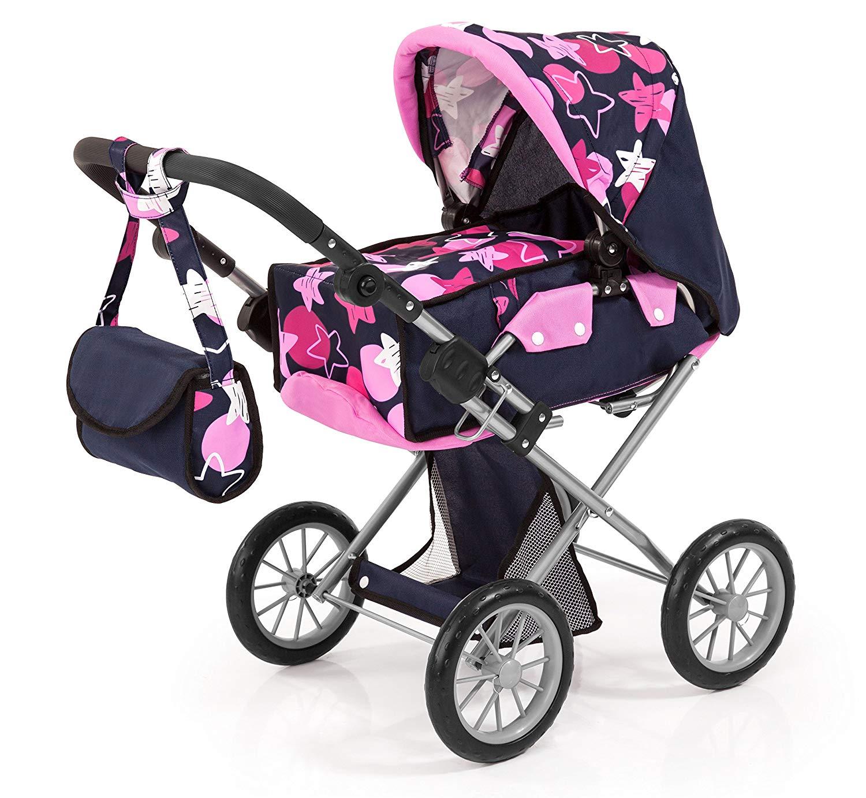 13669AA City Star Doll's pram, Combi Doll's Pram, blue with pink pattern