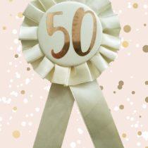Alandra Birthdays RGB-50 50th Cream & Rose Gold Metallic Birthday Rosette, One Size