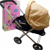 Allkindathings  Dolls Stroller Baby Pram Cream Hood and Navy Body Toy Buggy Pushchair