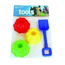 ADRIATIC 777 Shovel Item 150 with 3 Pudding Moulds in Polybag Bag with Header Card, Multi-Color