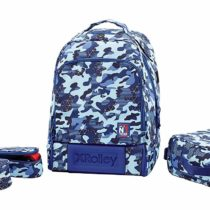 3 in 1 x Rolley Backpack with Wheels, Removable Shoulder Straps, 35 litres, Polyester, Blue