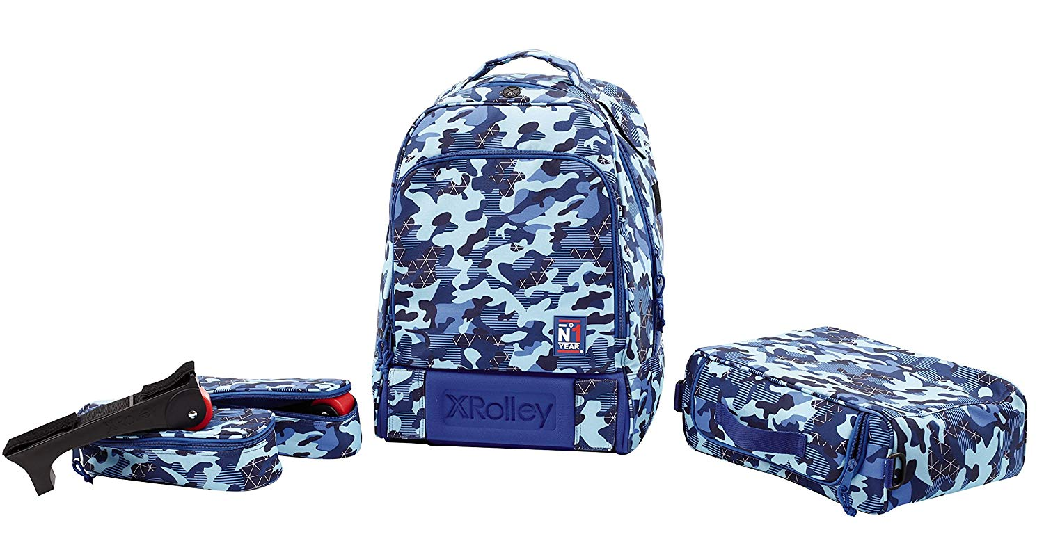 3in 1x Rolley Backpack with Wheels, Removable Shoulder Straps, 35litres, Polyester, Blue