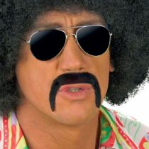 70s Tash – Black 70s Novelty Fake False Moustaches Beards Sideburns etc for Fancy Dress Accessory